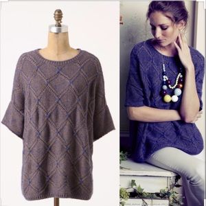 Moth short sleeve poncho sweater Anthropologie